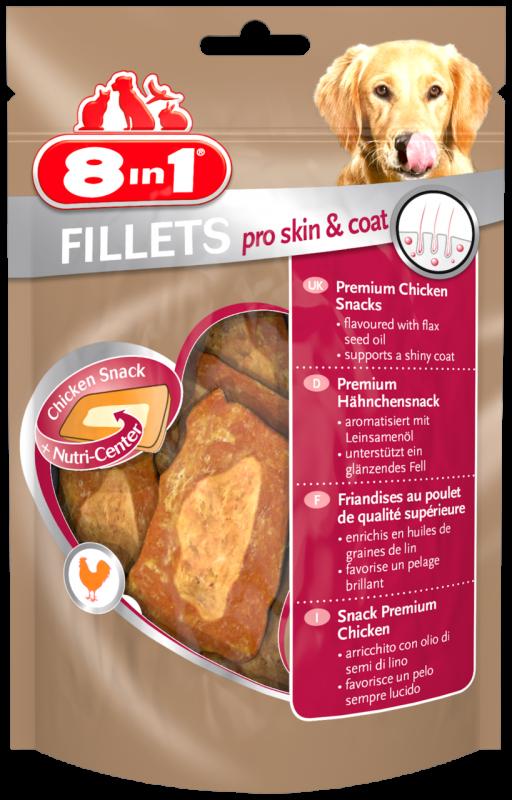 8IN1 Fillets Skin & coat Hondensnack 19.5cm doos 80gram