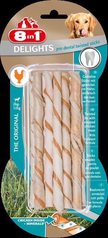 8IN1 Delights Twisted sticks Hondensnack 25.5cm doos 10stuks