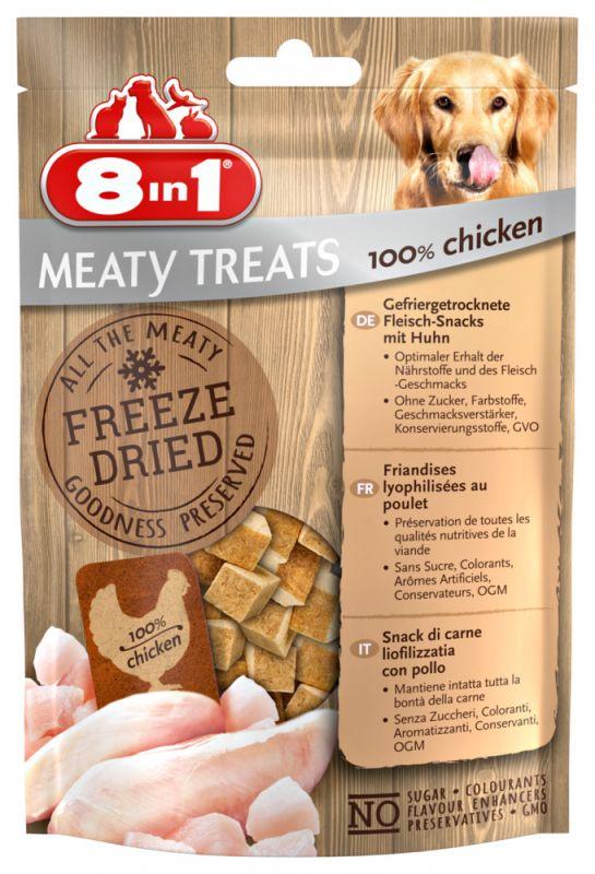 8IN1 Meaty Treats Freeze dried Hondensnack Kip 50gram