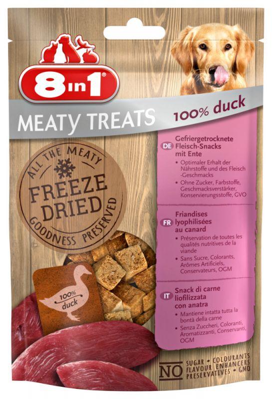 8IN1 Meaty Treats Freeze dried Hondensnack Eend 50gram