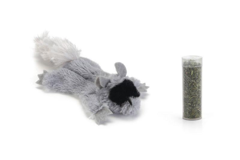 Beeztees Platte Tex Pluche met Catnip Kattenspeeltje Grijs 14 cm